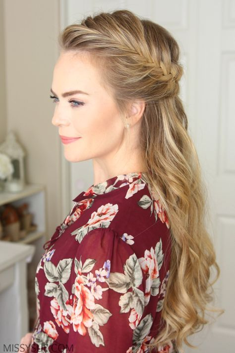 Fish tail french braid - 3 Fall Half Up Hairstyles - Missy Sue Blog