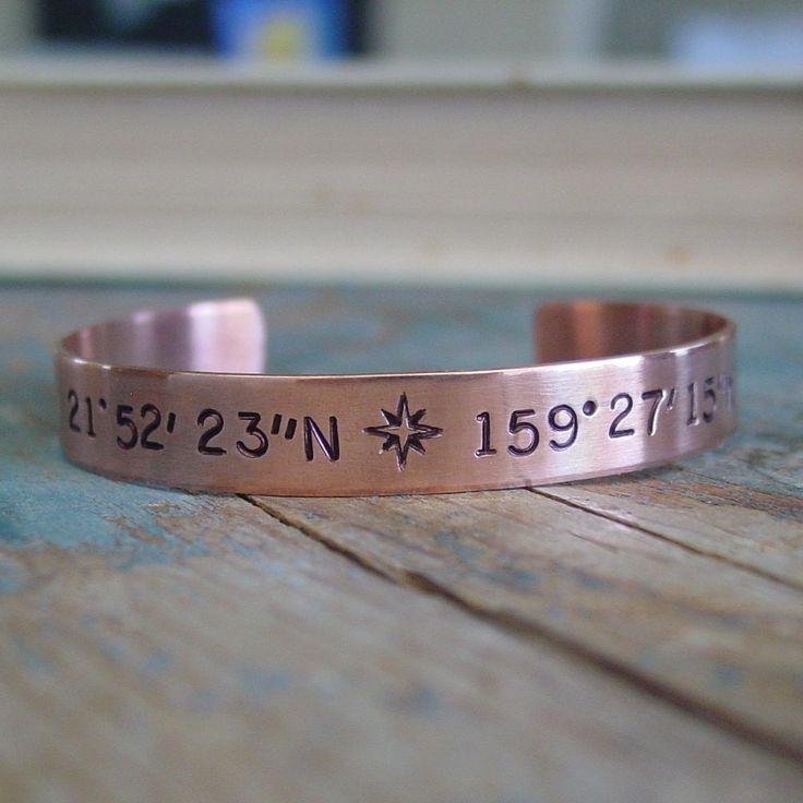 Latitude Longitude Coordinate Bracelet,Custom Coordinates,Cuff Bracelet,Personalized,Copper Anniversary,Gift For Her,Anniversary Wife Gift
