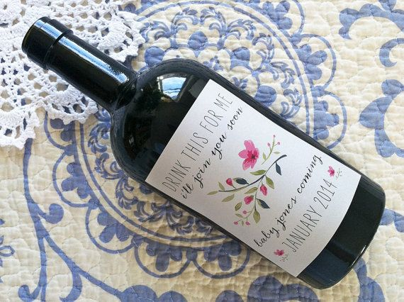 Custom Wine Labels - Pregnancy Announcement! (Personalized) on Etsy, $6.00
