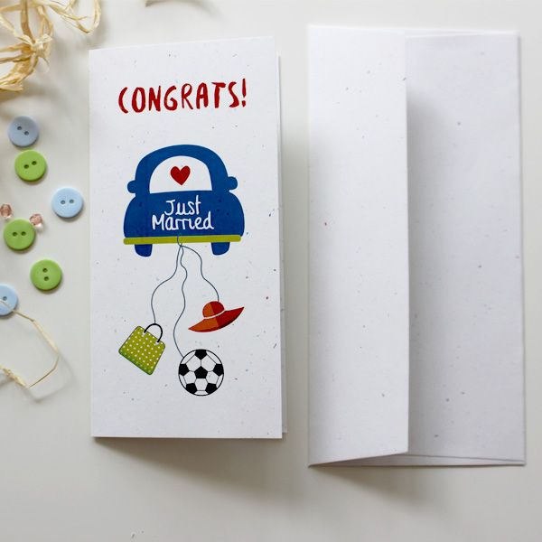 Just Married Card for Football and Shopping Lover  | Wedding Card  | Varró Joanna Design | Handmade Wedding | Weddings | Wedding Ideas | DIY | Graphic Design | Inspiration | Graphic Designer