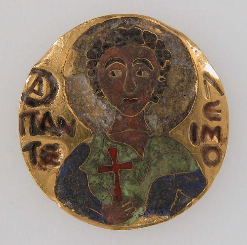 Roundel of Saint Pantaleon/Panteleimon Hungary/Byzantium (12th Century) Cloisonné and Enamel, 2.7 x 0.1 cm. The Metropolitan Museum of Art