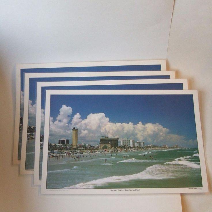 Set 4 Vintage Daytona Beach Fla Laminated Real Photo Placemats Unused Washable