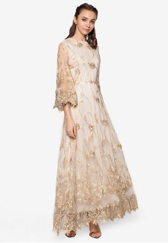 Embroidered Flare Sleeve Dress from Zalia in white and gold_1