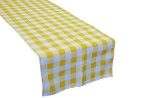 LA Linen Poly Checkered Table Runner, 14 by 108-Inch, Light yellow/White
