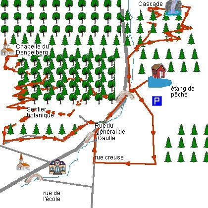 Mooie wandeling door het bos, bossen van pijnbomen en bladverliezende bomen langs paden goed aangegeven door de Vogezen Club. Waterval, visvijver, botanische…