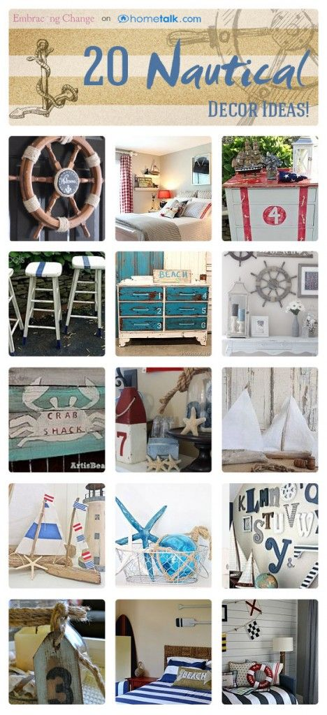 20 Nautical Decor Ideas | curated by 'Embracing Change' blog!
