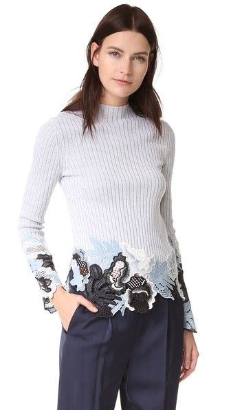 3.1 Phillip Lim Long Sleeve Embroidered Lace Ribbed Pullover | SHOPBOP
