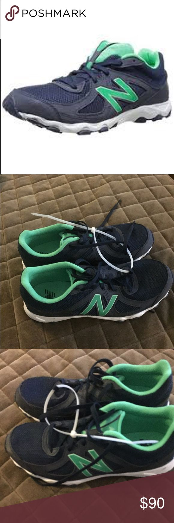 New Balance Running Shoes - WL520 Navy/Green Lightweight Running shoes - brand new, never worn 100% Leather trim  Imported  Rubber sole  Injection molded ethylene vinyl acetate midsole New Balance Shoes Sneakers