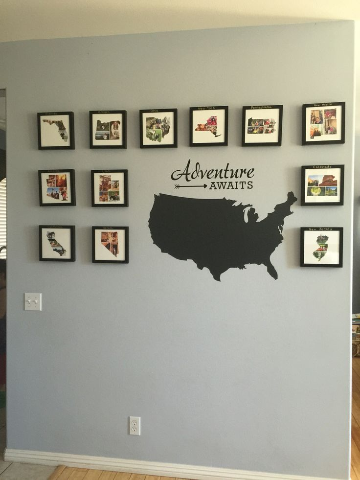 Travel wall – photo collages in the shape of each …