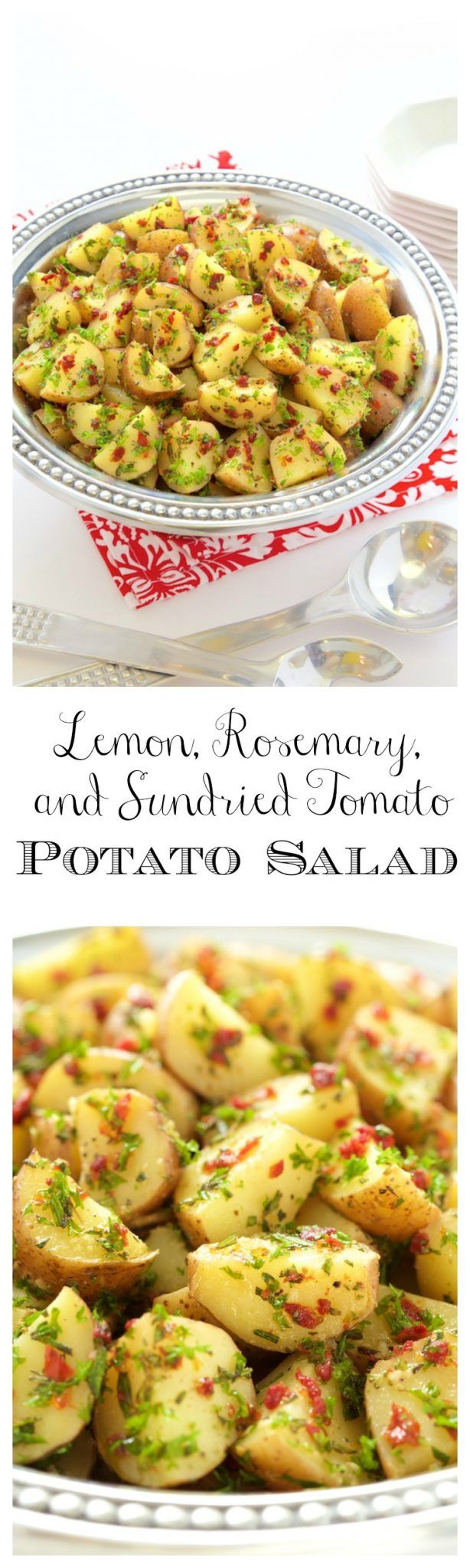 Lemon, Rosemary and Sundried Tomato Potato Salad - a simple, delicious, no Mayo potato salad that everyone loves!