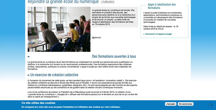 #entrepreneuriat : Le gouvernement lance le projet #grandeecoledunumérique http://www.economie.gouv.fr/rejoindre-la-grande-ecole-du-numerique?utm_content=bufferdac38&utm_medium=social&utm_source=pinterest.com&utm_campaign=buffer label ou lubie ?