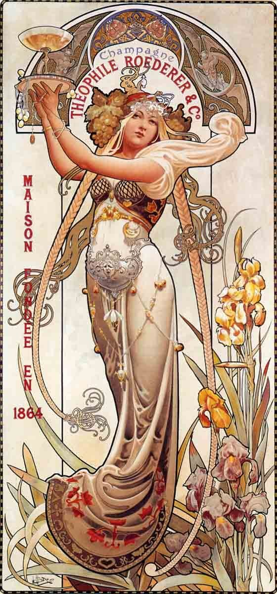 Theophile Roederer Champagne Louis-Theophile Hingre Mucha Style 18x36 Poster Reprint