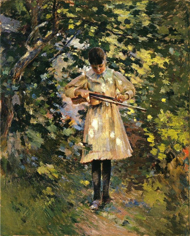 ♪ The Musical Arts ♪ music musician paintings - Theodore Robinson | The Young Violinist
