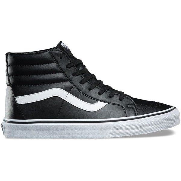 Vans Classic Tumble SK8-Hi Reissue ($70) ❤ liked on Polyvore featuring men's fashion, men's shoes, men's sneakers, black, mens black hi top sneakers, mens cap toe shoes, men's vintage shoes, mens high top sneakers and mens rubber shoes