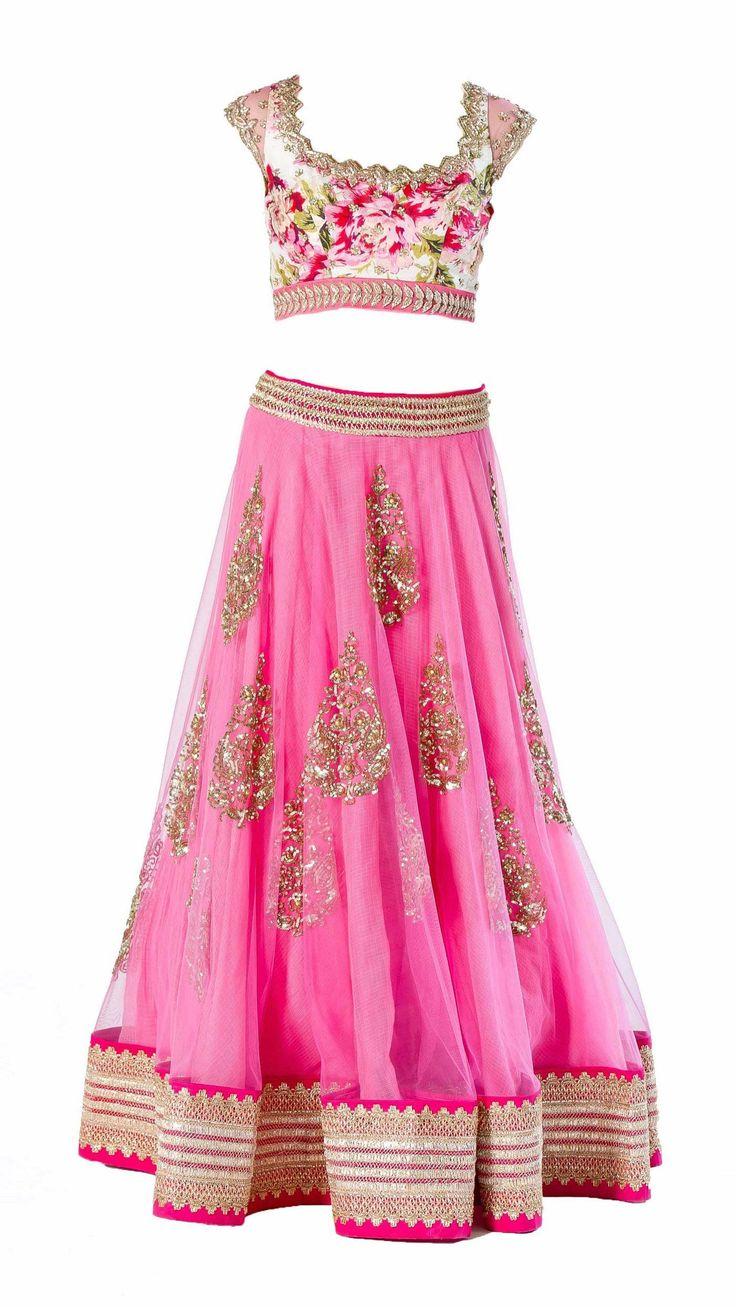Anushree Reddy's Floral Pink Lengha Set - JIVA