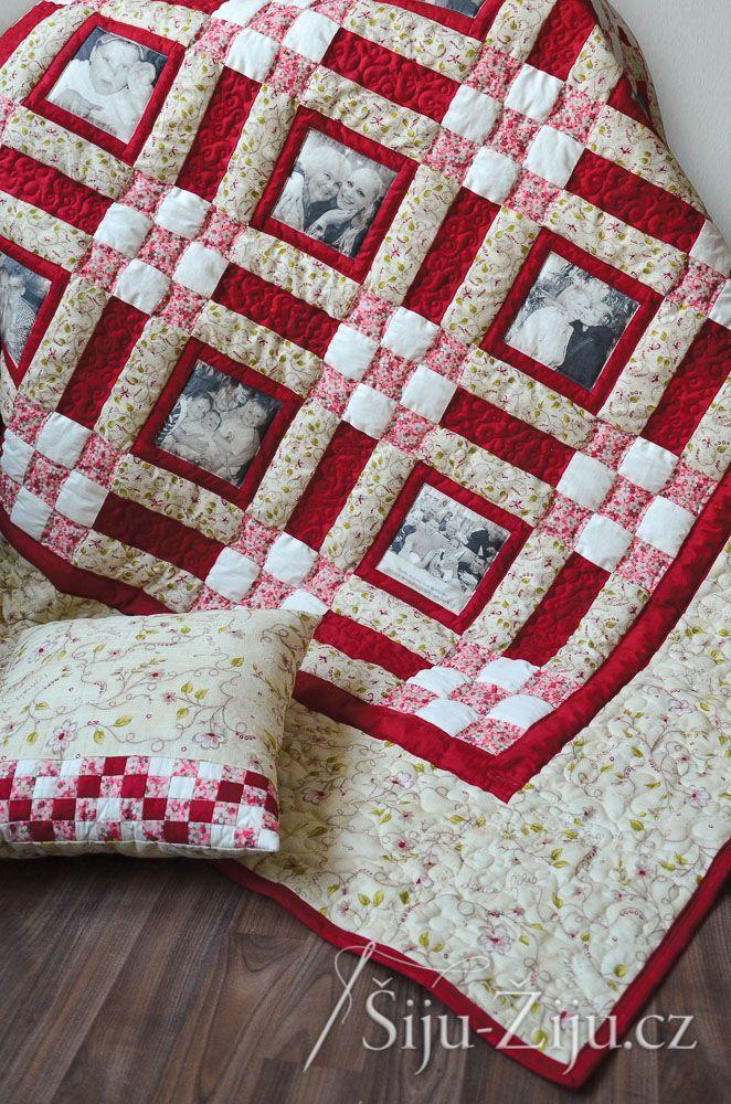 Bordó Memory quilt with photos / Šiju-Žiju.cz