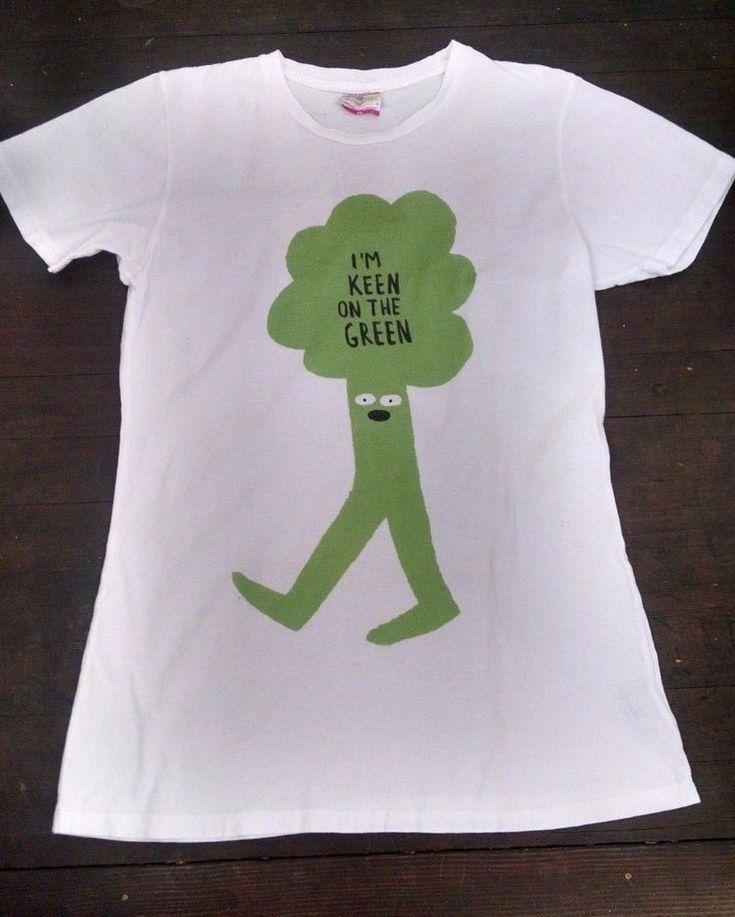 I'm Keen on the Green Womens T-shirt XL Palmer Cash White Broccoli Eco-Friendly #PalmerCash #GraphicTee