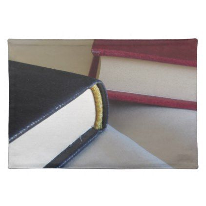 Second hand books with blank pages on a table cloth placemat - paper gifts presents gift idea customize