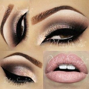 Stunning smokey eye with winged liner. This is a perfect look for Valentines Day by @makeupbymels using the NAKED3 pallet & Creme Cup lipstick by MAC