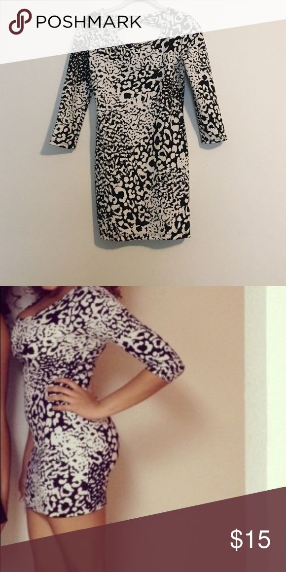Black and White Animal Print dress Super cute form fitting dress. Perfect for a night out! Dresses Mini