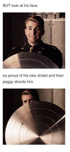 Aww look at him behind the shield he just saw his life flash before his eyes
