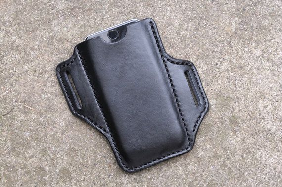 Handmade Leather iPhone Holster Case iPhone 6/6S/7, Black
