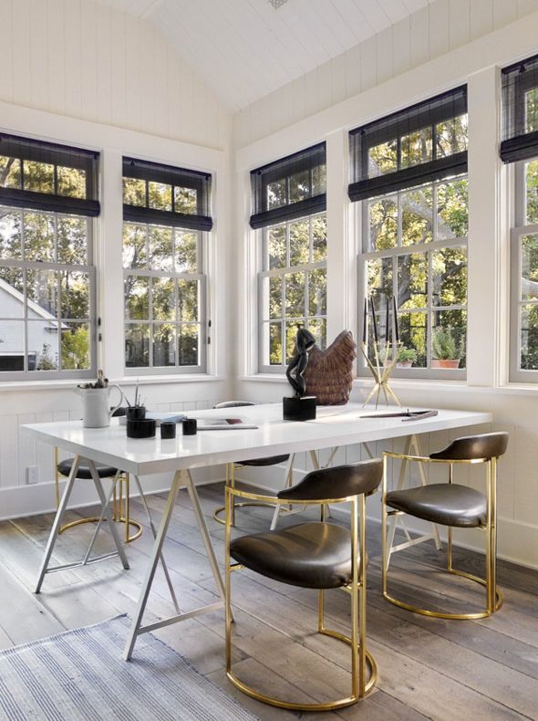 House of Windsor | Fabulous Brass Chairs: Office, Interior, Dining Room, Gwyneth Paltrow, Window, Chairs, Kitchen, House
