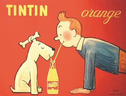 Vintage Tintin Orange Soda Advertisement.