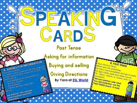 This bundle includes speaking cards to be used in ESL classes. I love using role plays to encourage ELL learners to speak. They are usually fun and interactive - my students react well to these types of activities. Even the shy ones! Here is what is included in this pack, speaking cards for: -The past tense -Asking for information -Buying & selling -Giving directions. $
