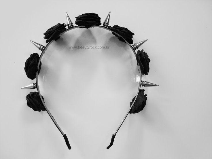 DIY: Tiara de Flores e Spikes (Spiked Floral Headband) Pastel Black Goth