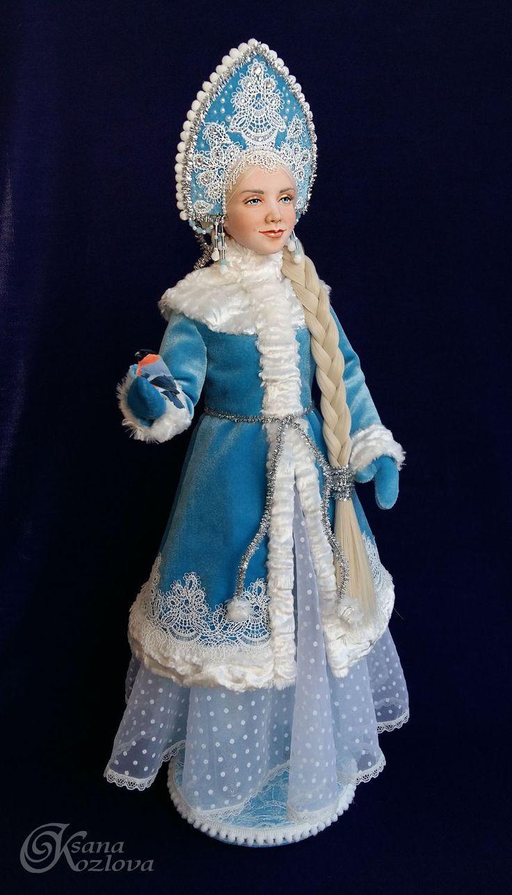 Купить Снегурочка авторская интерьерная кукла - голубой, снегурочка, снегурочка и дед мороз, новый год 2017