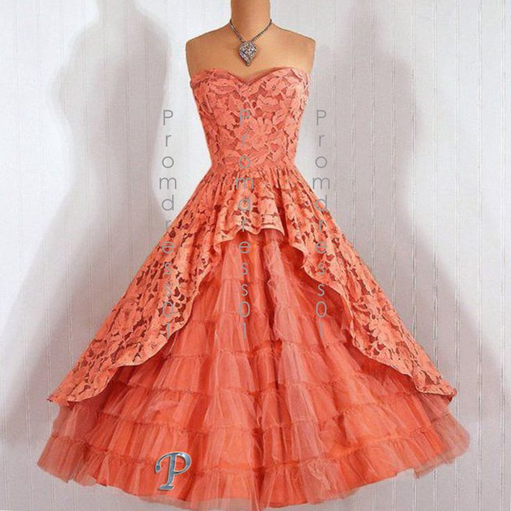 2015 cute orange sweetheart strapless lace   tulle tea-length vintage prom dress, retro ball gown, homecoming dress, evening dress #promdress #coniefox #2016prom