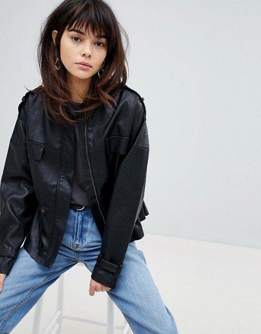 8ae5c39bd4e654 Vero Moda 80s faux leather waist detail jacket in 2019 | Short Hair ...