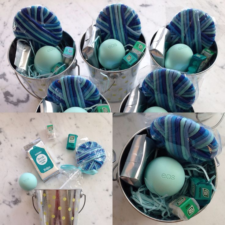 Teen birthday party favors/goodie bags. Mint eos lip balm, tic tac, hairband lollipop, hand wipes.