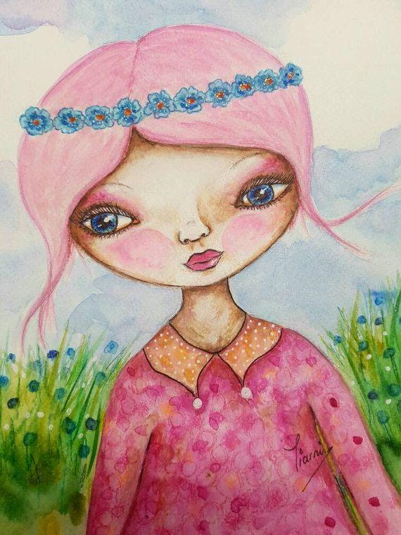 Pink whimsical watercolor girl. Original by TiarniHeartsArt