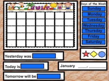 FREE !! *Months of Year *Calendar (Days of Week and Today, Tomorrow, Yesterday) *Weather Graph *Days in School (Zero the Hero 100th Day) *100's Chart (with highlighters and concealers) *Lost Tooth Graph *BIrthday Graph *Number of the Day (with spinning number generator) for base ten activities *Piggy Bank - for identifying and counting coins