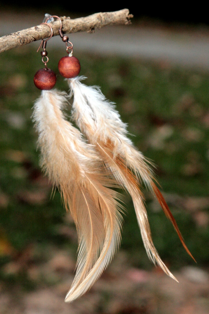Tan and White Feather Earrings