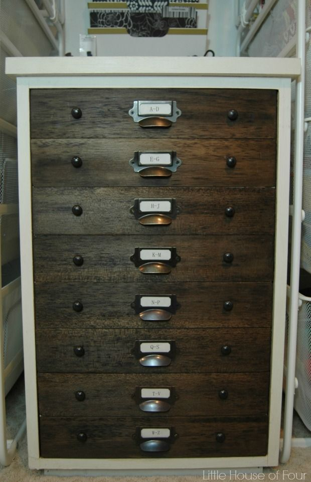 trash to treasure, faux specimen cabinet, 2 drawer file cabinet