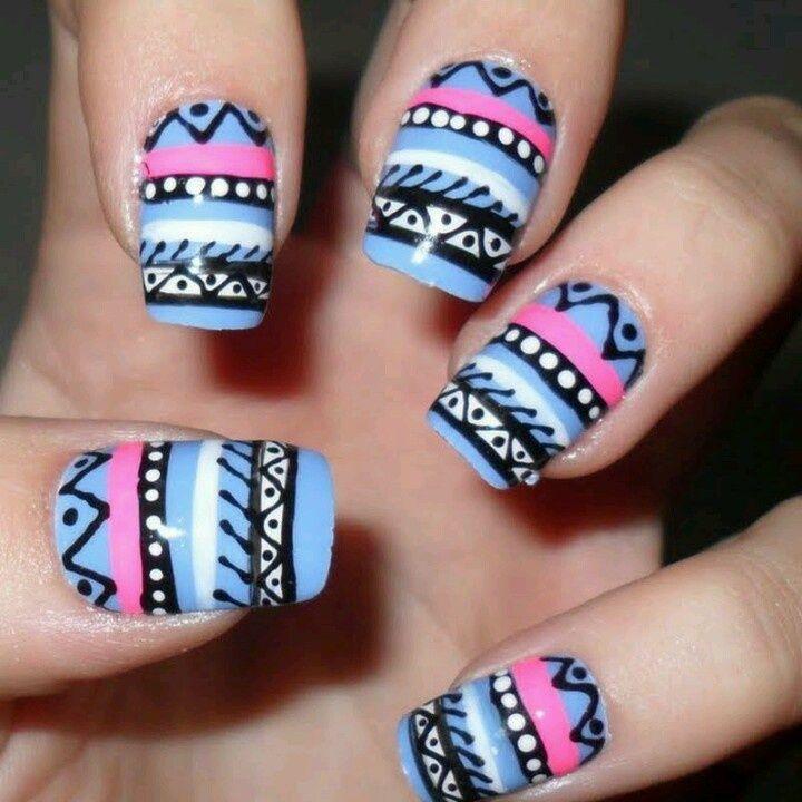 Tribal Nails | Love tribal print nails! | Nail art, Really cute nails