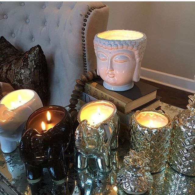 Sunday dilemma!  Can't decide which to light? Do like @inspire_me_home_decor & light them ALL and enjoy. White Buddha still available online.  Fragrances: #lotusandlily #sereneshowers #spaflowers #wildflowers #amberoud #whiteteaandmint . . . #buddha #elephant #pineapple #inspire_me_home_decor - Mon Dec 19 2016 19:24:29 GMT-0700 (MST)