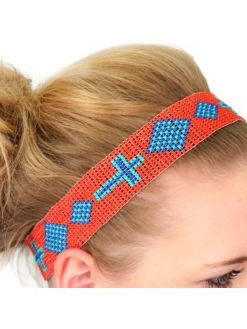 Coral, Blue, and Turquoise Cross Seed Bead Headband
