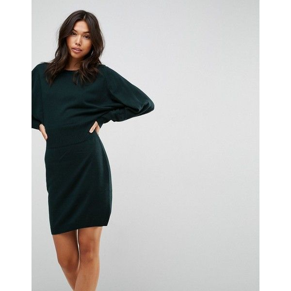ASOS Knitted Mini Dress with Batwing Sleeve ($45) ❤ liked on Polyvore featuring dresses, green, short prom dresses, short green dress, tall dresses, green prom dresses and mini party dresses