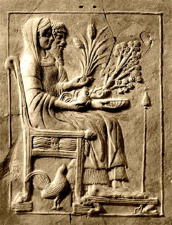 A 5th century clay relief of Hades and Persephone in Tartarus #greece #myth #mythology