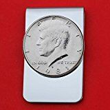 US 1981 Kennedy Half Dollar BU Uncirculated Coin Stainless Steel Money Clip NEW  Silver Plated Coin Bezel