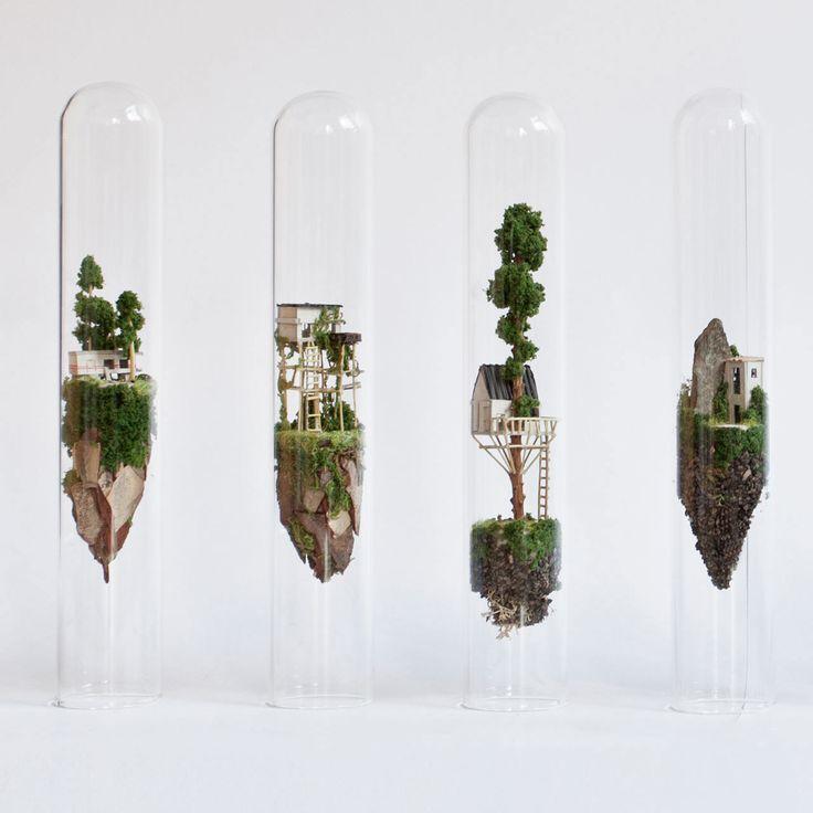 Micro Matter Miniature Sculptures in Glass Test Tubes by Rosa de Jong
