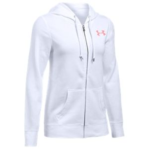 Under Armour Favorite Fleece Full-Zip Hoodie for Ladies - White/Pomegranate - XL