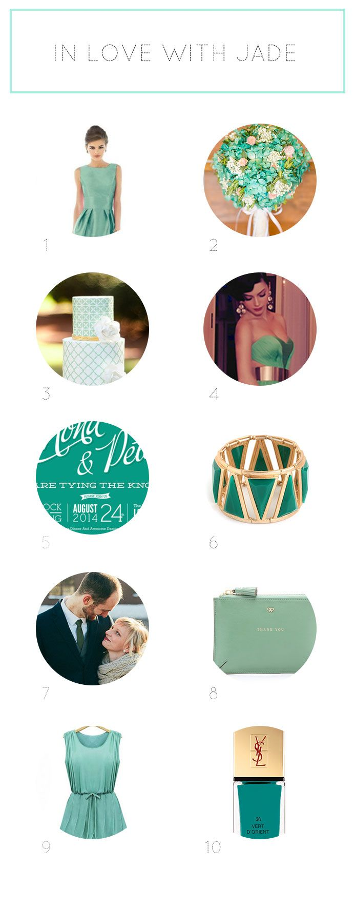 Wedding color inspiration: Jade Green