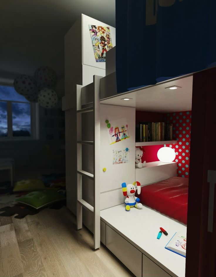 kids' room, interior design, bunk, lamp