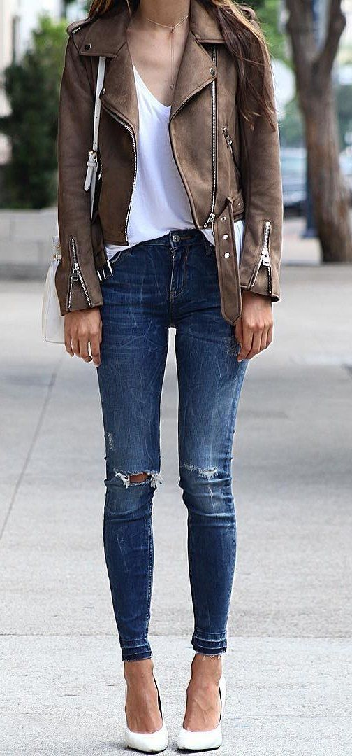 #fall #outfits ·  Camel Jacket // White Top // Destroyed Jeans // White Pumps