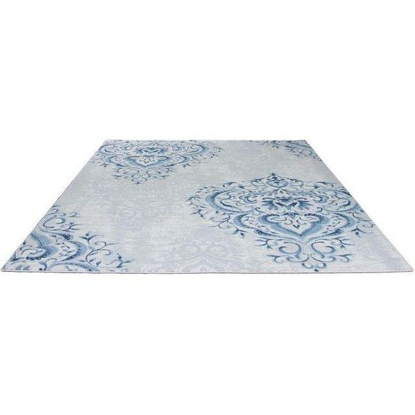 Blue Ivory Damask Rug - 5' x 8' ($299) ❤ liked on Polyvore featuring home, rugs, damask rug, blue damask rug, cream colored area rugs, blue rug and beige rugs
